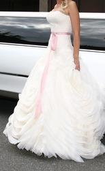 Нежное свадебное платье цвета Айвори с розовым пояском